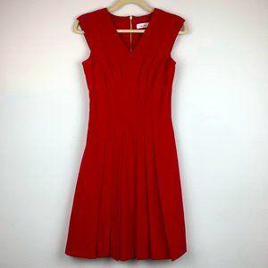 Calvin Klein Red Sleeveless Pleated Dress Sz 2